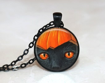 Halloween Jewelry Halloween  Necklace Glass Tile Necklace Cat Jewelry Black Necklace Glass Tile Jewelry Holiday Jewelry Black Jewelry