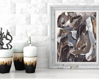 Medium ORIGINAL Abstract Painting, Black White Gray Brown Tan Line Painting, Acrylic Ink Painting, Abstract Art Line Painting, Calico