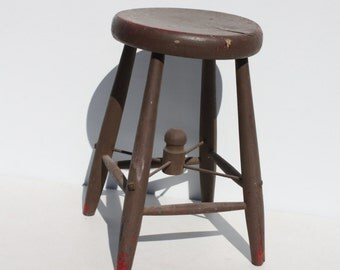 Vintage Wood Wooden Milk Stool Brown Red Painted Primitive Rustic Distressed Farmhouse Cottage Decor
