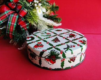 Vintage Cookie Cake Nut Tin Christmas Candy Fruitcake 6 Inch Container Canister