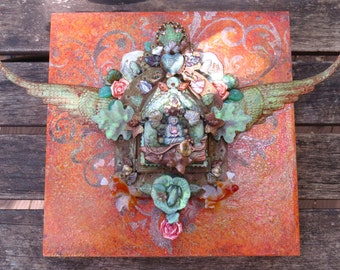 buddha's pond at sunset - mixed media art shrine