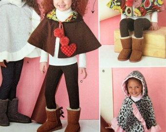 Girl's Cape Pattern, Simplicity 1263 Sewing Pattern, Child's Poncho Pattern, Reversible Cape, Hooded Cape Pattern, Chest 22 to 27 Inches