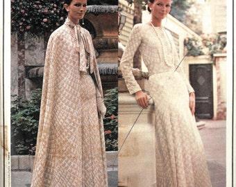 1970s Vogue Paris Original sewing pattern, Christian Dior, evening dress and cape size 12 34