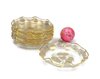 Flamingo Crystal Bowl Set / SET of 6 / Gold Roses / Handmade / Holland Crystal / 24 Karat Gold / Holiday Entertaining / c1950s