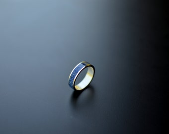 Wedding Band, Sterling Silver Ring, Blue, Contemporary, Modern Ring, Crushed Stone, Inlay Lapis