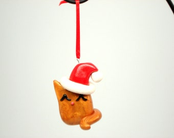 Orange Cat Ornament Polymer Clay Orange Fat Cat Christmas Ornament Christmas Decoration Kitty Christmas Ornaments