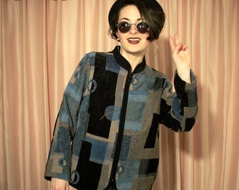 Black and Blue Tapestry Jacket
