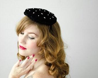 1950s vintage hat / black velvet and pearl cocktail hat / Milbrae