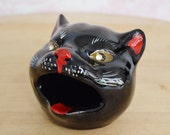 Vintage Black Cat Head-Smoker Ashtray with Rhinestone Eyes