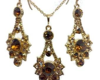 Topaz Earrings, Citrine Necklace, Art Deco Bridesmaid Earrings, Swarovski Crystal Bridal Jewelry Set, Geometric Bridesmaid Jewelry Gift RAYS