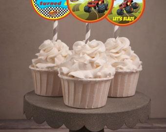 Blaze Machine cupcake toppers, Blaze Machine party favors, Blaze party theme  Set of 24