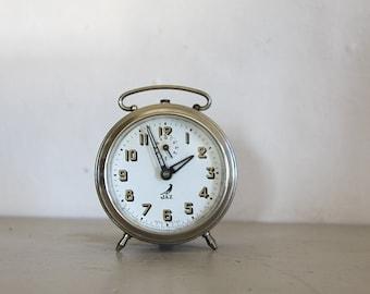 Antique  French Jaz  Alarm Clock Metal Loft Decor