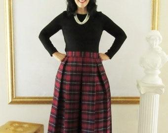 Navy and Red Plaid Pleated Skirt School Girl Plaid Midi or Mini Skirt