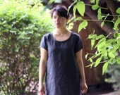 Summer shift tunic dress 100% linen. Short sleeve, scoop neck. Ethically made in Italy. Sizes from S to XL. Made to order.