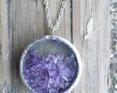 Purple Amethyst Shake Necklace Raw Rough Gemstone February Birthstone Crystal Girlfriend Wife Valentine's Day Gift