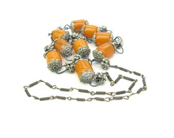 Long Tribal Necklace. Faux Copal Amber Beads, Mixed Metal Links. Ethnic Tibet Nepal Handmade Jewelry. Vintage 1970s Boho  Style. 2.9  oz