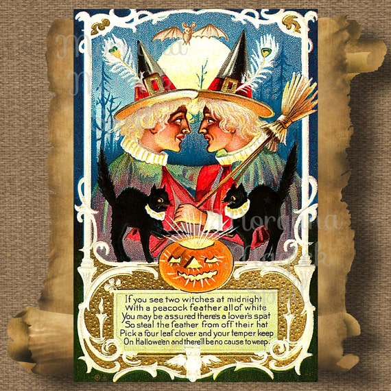 Halloween See 2 Witches Vintage Postcard Royalty Free