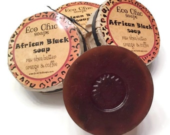 African Black Soap - Raw Shea Butter Soap with Orange Essential Oil - Ground Coffee Exfoliating Soap