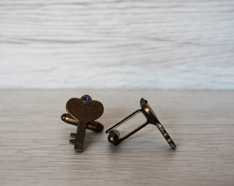 Key Cufflinks Keys bronze color cuff links Anniversary gifts grooms