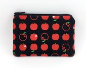 SALE - Red Apple Coin Purse, Small Zipper Pouch, Card Pouch, Zipper Wallet, Gift idea, Padded
