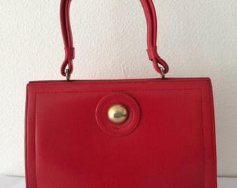 Vintage sixties red leatherette handbag