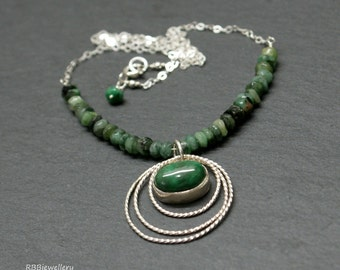 Natural Emerald Sterling Silver Pendant Necklace