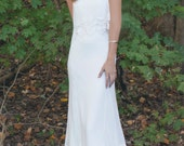"Strapless Chiffon Bohemian Gown, Embroidered Trim, Rounded Train - ""Miller"""