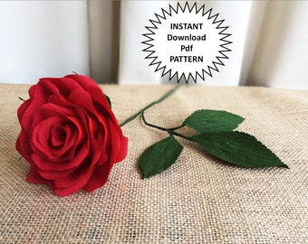 Paper Craft Pdf Pattern DIY Paper Roses Crepe Paper Roses Paper Flowers DIY Craft Tutorial Paper Rose Wedding DIY Flower Bouquet Home Decor