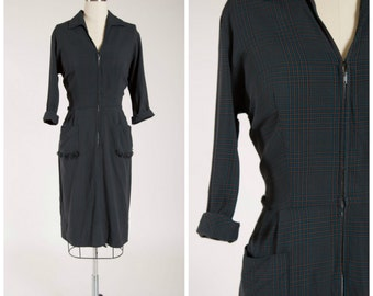 Vintage 1950s Dress • Jazzy Applaud • Navy Blue Plaid Cotton 50s Zip Front Day Dress with Fringe Pockets Size Medium