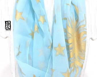 Blue Infinity Scarf, Silk Summer Scarf, Silk Chiffon Scarf, silk Scarf handpainted, Blue Celestial Princess Scarf, Takuyo, made to order