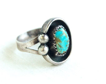 Turquoise Ring Size 6 Vintage Southwestern Sterling Silver Jewelry Shadowbox Lasso Native American Style