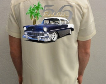 Men's Car Shirt-1956 Bel Air, Blue Car-Hawaiian Car shirt, Classic Car shirt, Custom car gift, vintage cars, casual shirt, car gift for him