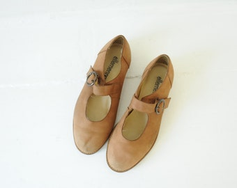 Vintage Ellemenno Mat Brown Leather Mary Janes, Womens