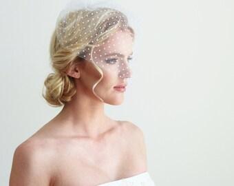 White or Champagne Veil Swiss Polka dot Short Veil Bridal Wedding Accessories Vintage inspired