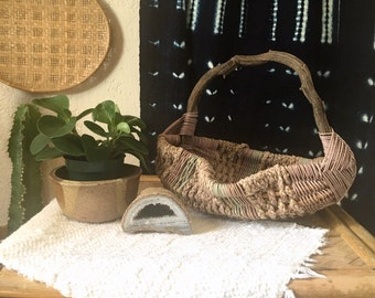Vintage Quirky Straw Basket with Wooden Stick Handle