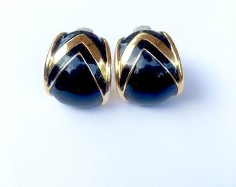 Ciner Black Gold Enamel Hoop Earrings Vintage Designer Signed Fashion Jewelry