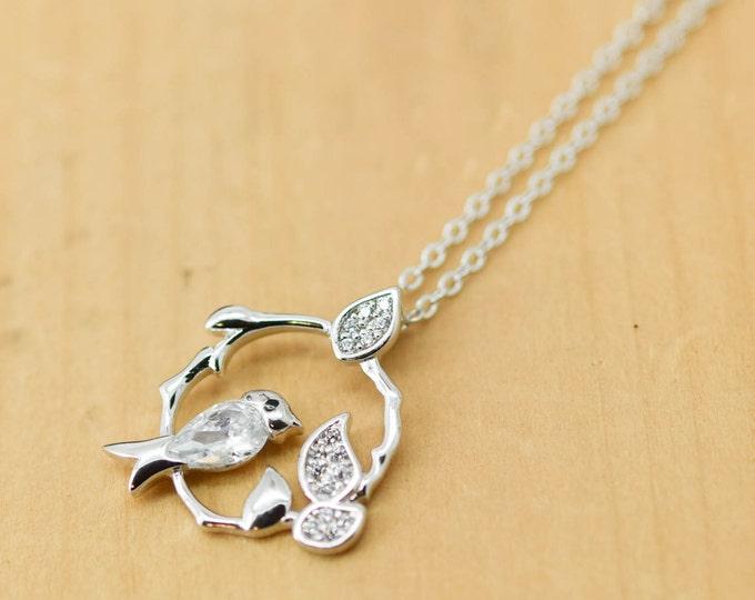 Bird leaf Branches Necklace, Bird Pendant, 925 Sterling Silver Necklace, Crystal Necklace Pendant, Bridesmaid Gift, Bridesmaid Necklace,
