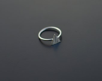 Sterling Silver Ring, Triangle Ring, Textured, Mountain Ring, Modern, Contemporary, Minimal