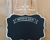 Hanging Chalkboard Sign, Wedding Chalkboard Sign, Personalized Wedding Chair Signs, Wedding Chair Decor, Wedding Signs for Ring Bearer