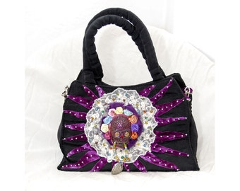 Black Gothic Lolita Romantic Lace Purse Elegant Victorian Glamour purple velvet shabby Mystic Skull Heart vintage style evening party bag