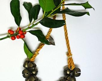 Vintage Jingle Bells on Rope / Marked Taiwan