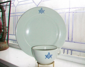 Vintage Masonic Dinner Plate and Cup McNicol China 4 Sets Available