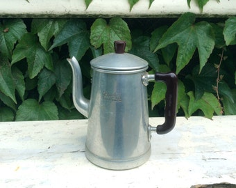 Vintage French Almoluxe aluminum coffee pot with brown bakelite handle