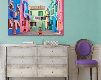 Burano Canvas Photo, Large Art Print, Venice Photography, Street, Colorful Houses, Italy, Wall Decor, Blue, Pink, Travel Decor, Happy Canvas