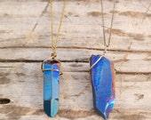 Blue Aura Quartz Necklace - antique silver & antique gold
