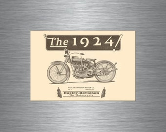 Antique 1924 Harley Davidson MOTORCYCLE Advertising Art Poster Kitchen Refrigerator MAGNET