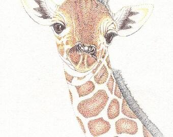Giraffe, 8x10 original illustration, baby animals, giraffes, nursery art, animals, art, home decor, wall hanging, earthspalette