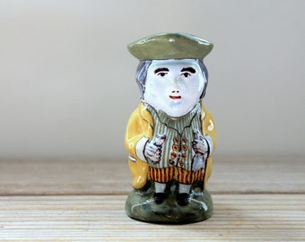 Earthenware ceramic French vintage Desvres Faience toby jug / French mini vase / masculine humor pottery / collectible toby jug gift for him
