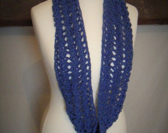 Blue Crochet Cowl Infinity Scarf