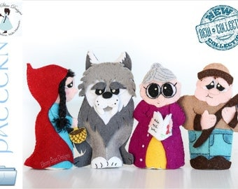 Red Riding Hood Finger Puppet PATTERNS. PDF Sewing Patterns- Felt Finger Puppets.